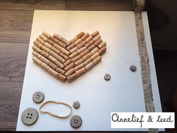 DIY prikbord in hart vorm